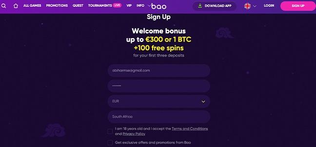 BAO Casino – No Deposit Bonus Offer
