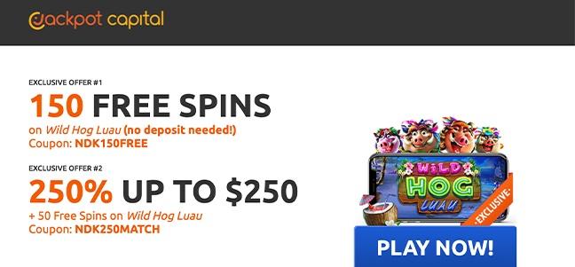Jackpot Capital Casino – No Deposit Bonus Offer