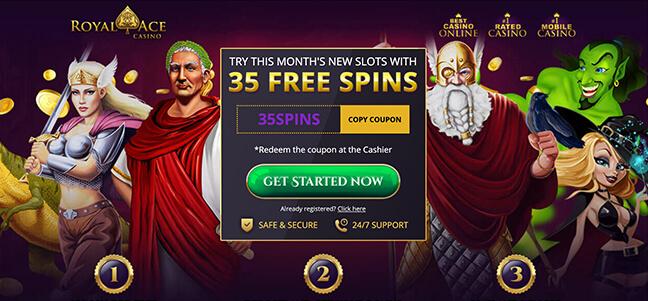 No deposit bonus free spins at royal ace casino games